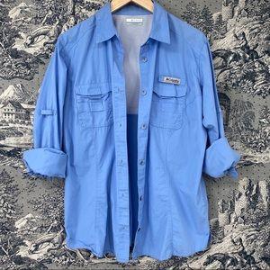 Columbia PFG blue long sleeve button up shirt